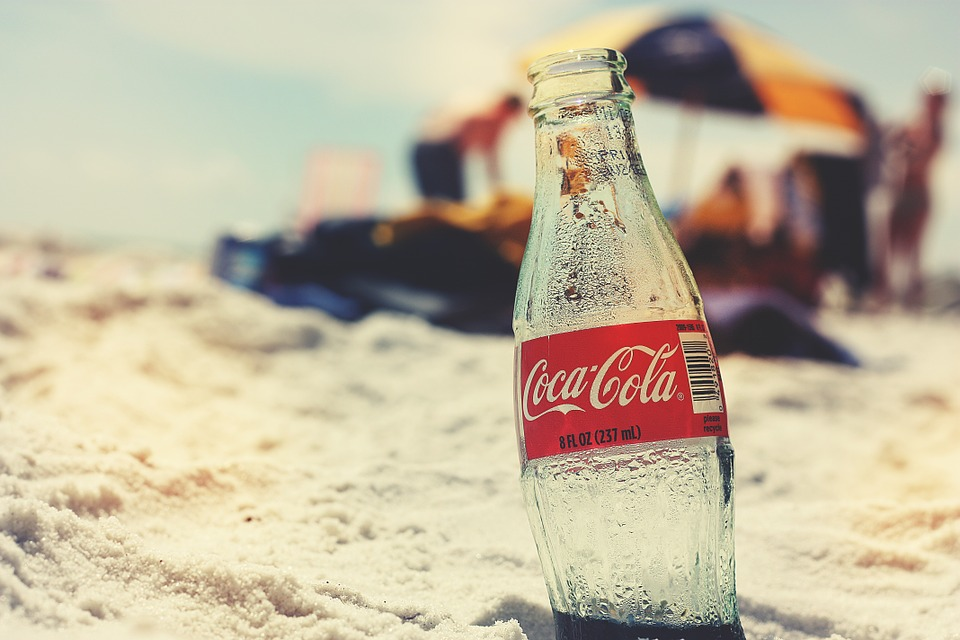 retro coca cola on beach