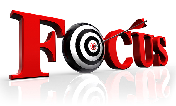 focus red word and conceptual target with arrow reflect on white background