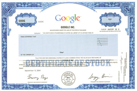 google share certificate sample