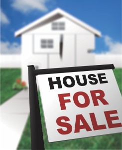 house for sale sign and background